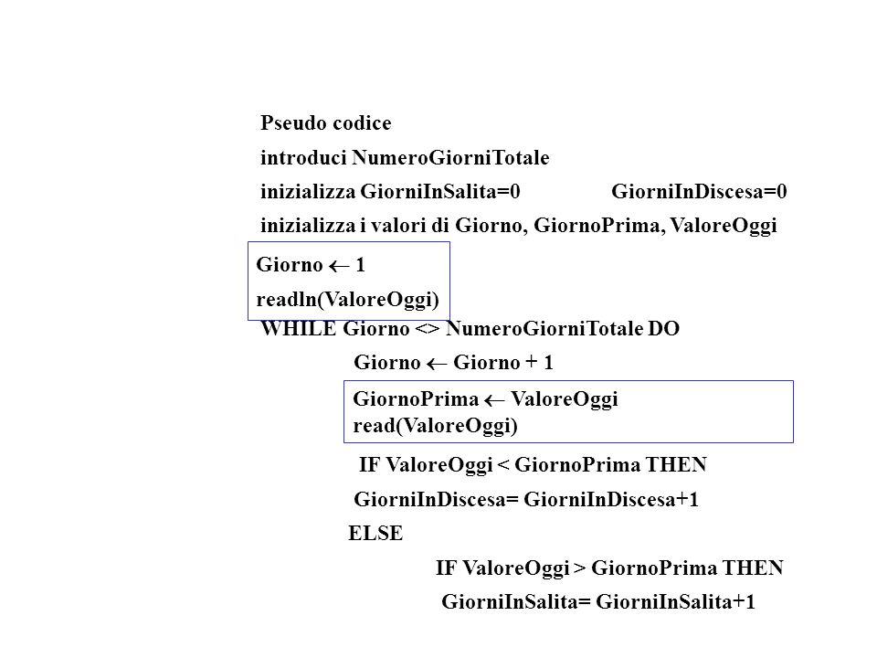 Pseudo codice introduci NumeroGiorniTotale. inizializza GiorniInSalita=0 GiorniInDiscesa=0.