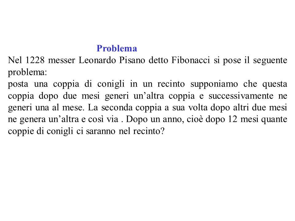 Problema Nel 1228 messer Leonardo Pisano detto Fibonacci si pose il seguente problema: