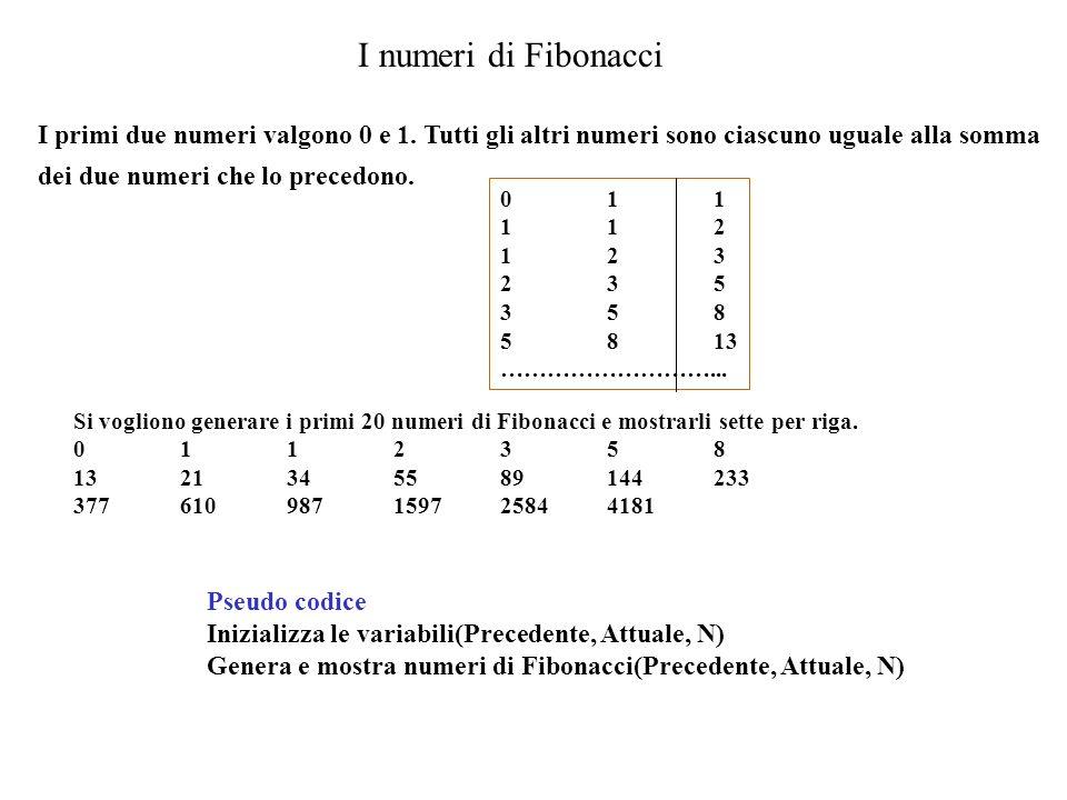 I numeri di Fibonacci I primi due numeri valgono 0 e 1. Tutti gli altri numeri sono ciascuno uguale alla somma dei due numeri che lo precedono.