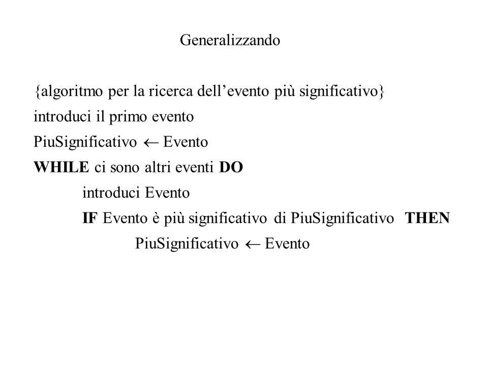 Generalizzando {algoritmo per la ricerca dell'evento più significativo} introduci il primo evento.
