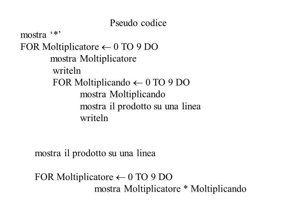 Pseudo codice mostra '*' FOR Moltiplicatore  0 TO 9 DO. mostra Moltiplicatore. writeln. FOR Moltiplicando  0 TO 9 DO.