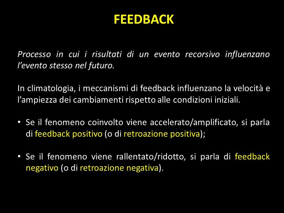 FEEDBACK Processo in cui i risultati di un evento recorsivo influenzano l'evento stesso nel futuro.