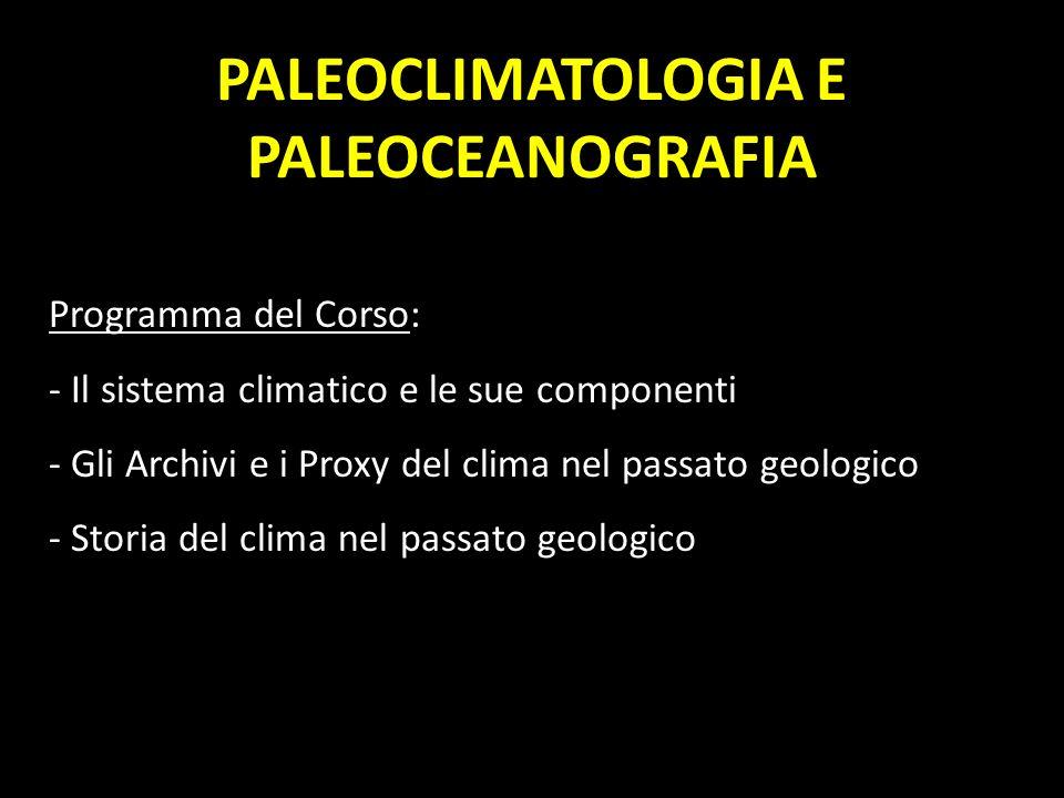 PALEOCLIMATOLOGIA E PALEOCEANOGRAFIA