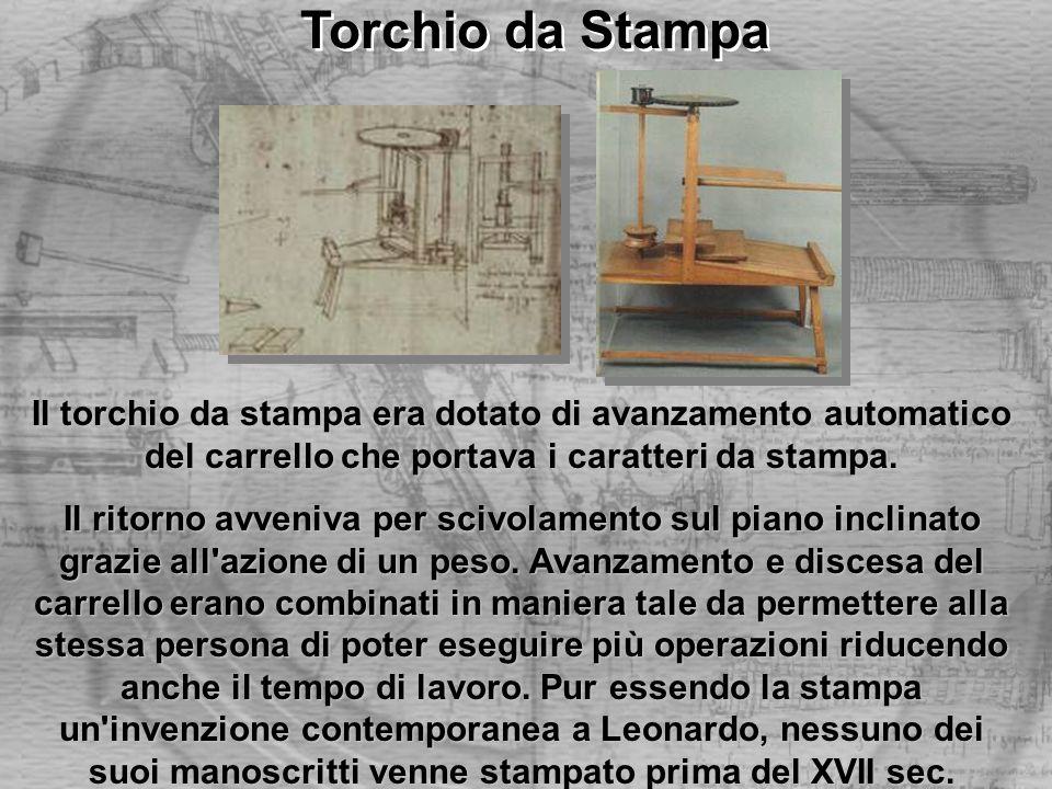 Torchio da Stampa Il torchio da stampa era dotato di avanzamento automatico del carrello che portava i caratteri da stampa.