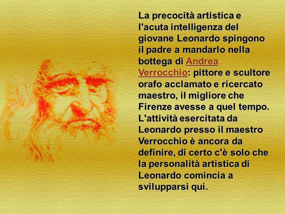 La precocità artistica e l acuta intelligenza del giovane Leonardo spingono il padre a mandarlo nella bottega di Andrea Verrocchio: pittore e scultore orafo acclamato e ricercato maestro, il migliore che Firenze avesse a quel tempo.