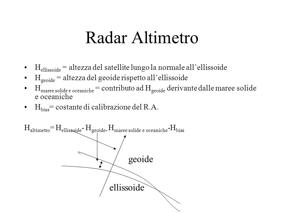 Radar Altimetro geoide ellissoide