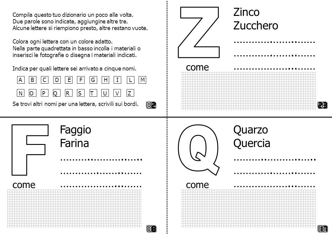 Z F Q Zinco Zucchero ………….……..…… ………………...…… Faggio Farina