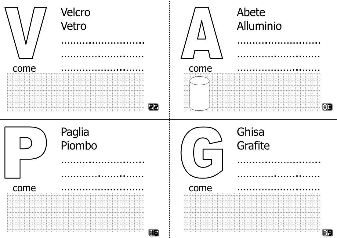 V A P G Velcro Vetro ………..………..….. ………….……..…… ………………...…… Abete