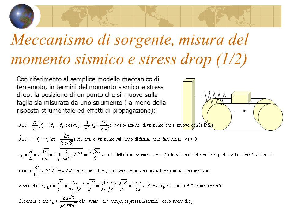 Meccanismo di sorgente, misura del momento sismico e stress drop (1/2)