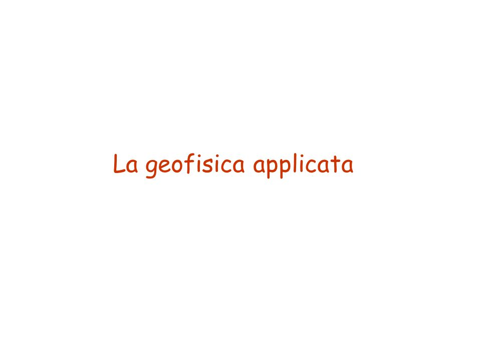 La geofisica applicata