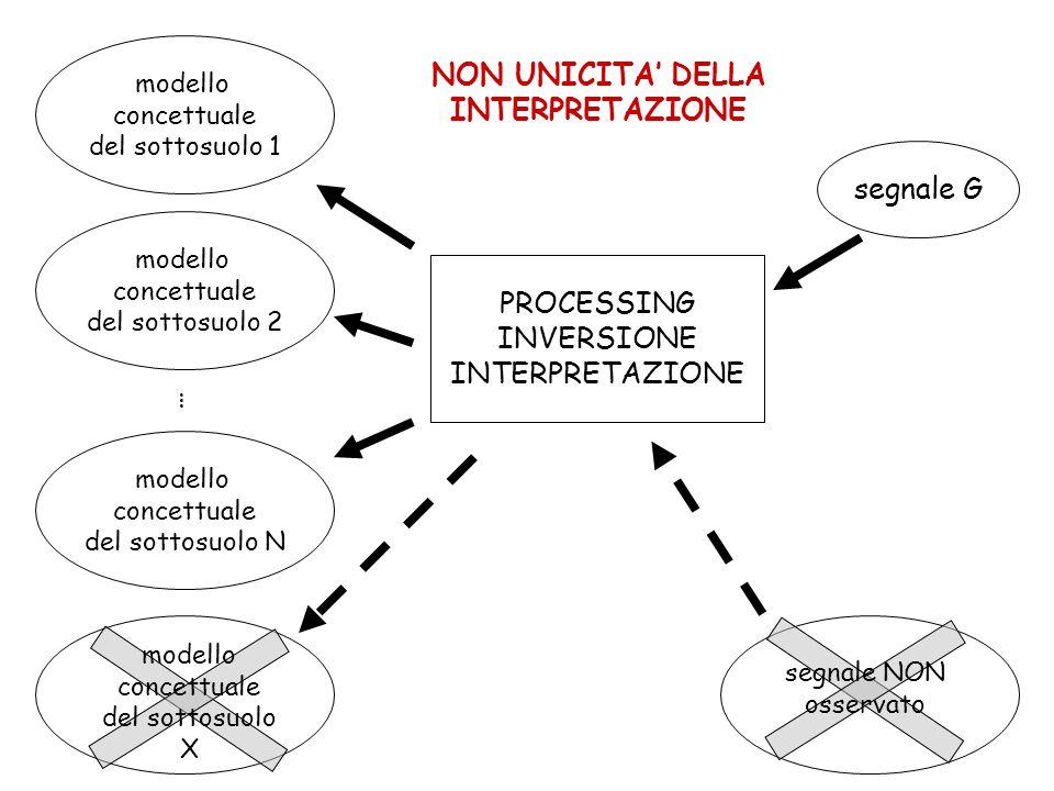 NON UNICITA' DELLA INTERPRETAZIONE segnale G PROCESSING INVERSIONE