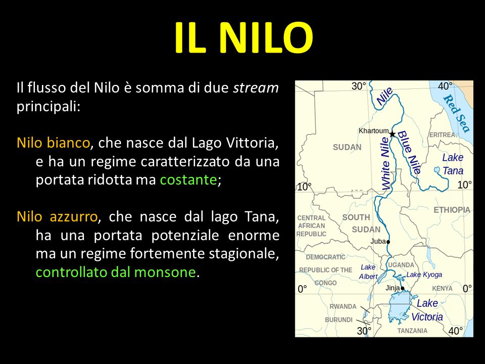 IL NILO Il flusso del Nilo è somma di due stream principali: