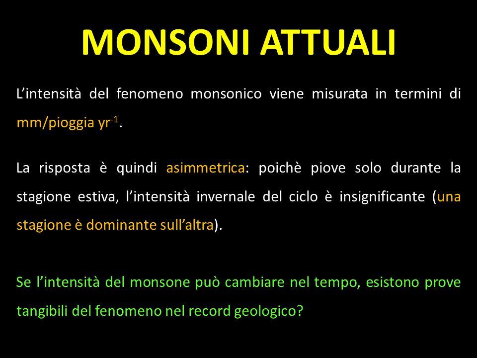MONSONI ATTUALI L'intensità del fenomeno monsonico viene misurata in termini di mm/pioggia yr-1.