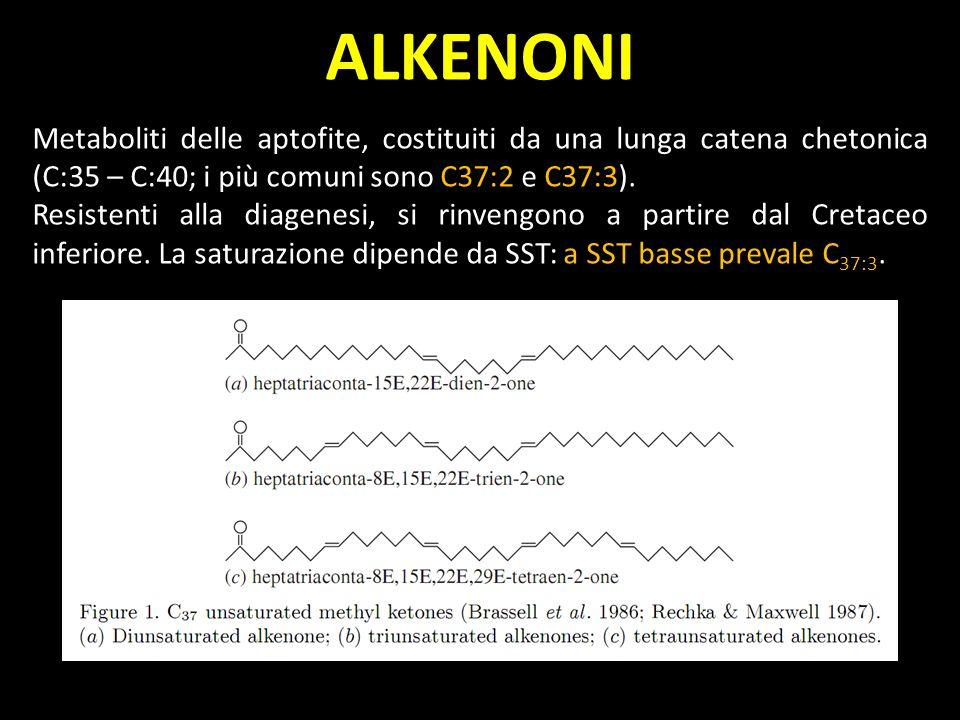 ALKENONI Metaboliti delle aptofite, costituiti da una lunga catena chetonica (C:35 – C:40; i più comuni sono C37:2 e C37:3).