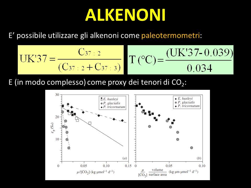 ALKENONI E' possibile utilizzare gli alkenoni come paleotermometri: