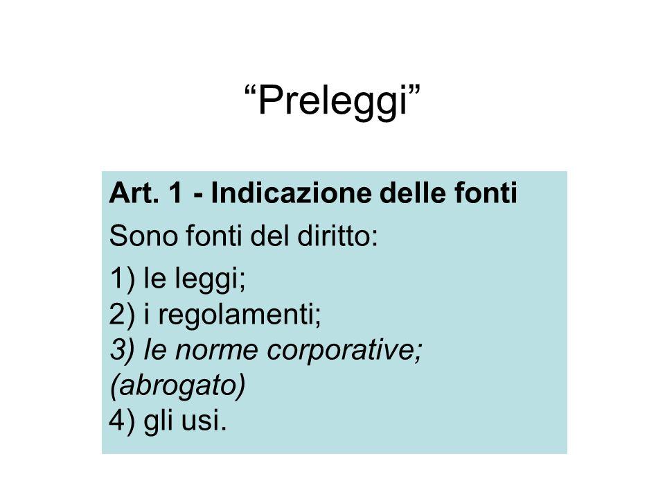Preleggi Art. 1 - Indicazione delle fonti Sono fonti del diritto: