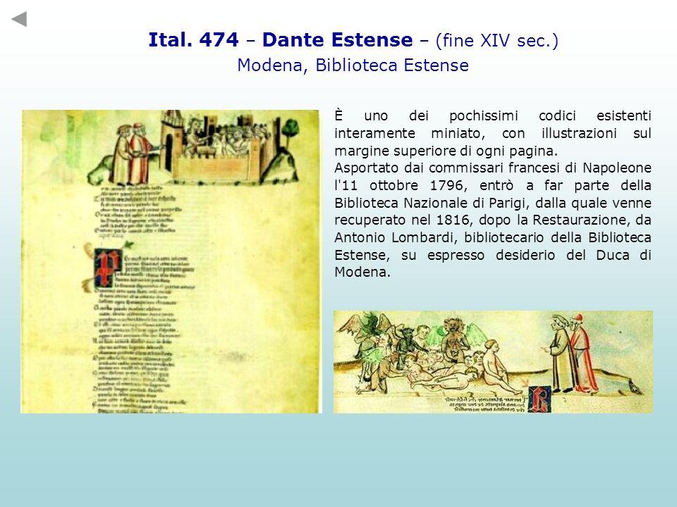 Ital. 474 – Dante Estense – (fine XIV sec.)