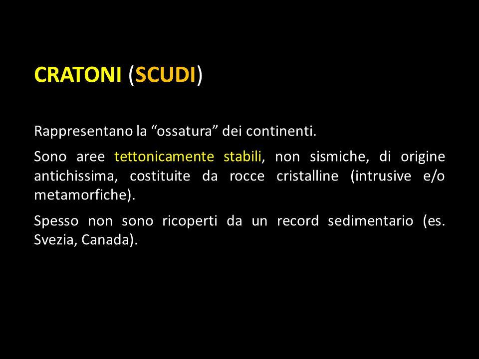 CRATONI (SCUDI) Rappresentano la ossatura dei continenti.
