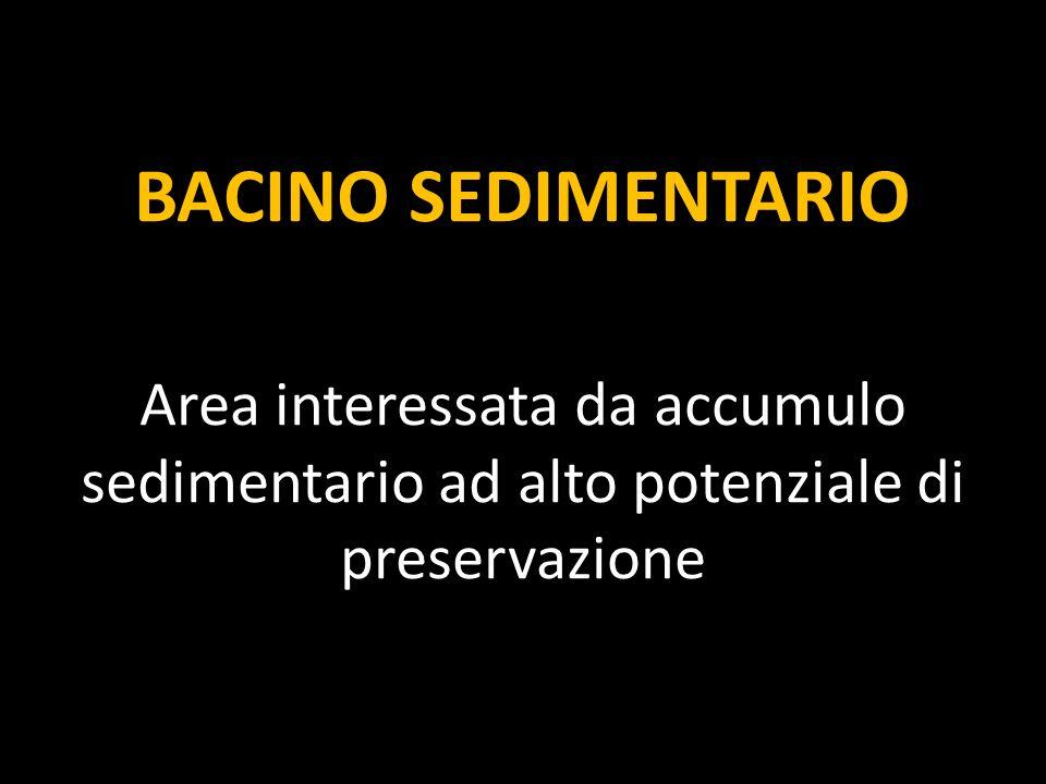 BACINO SEDIMENTARIO Area interessata da accumulo sedimentario ad alto potenziale di preservazione.
