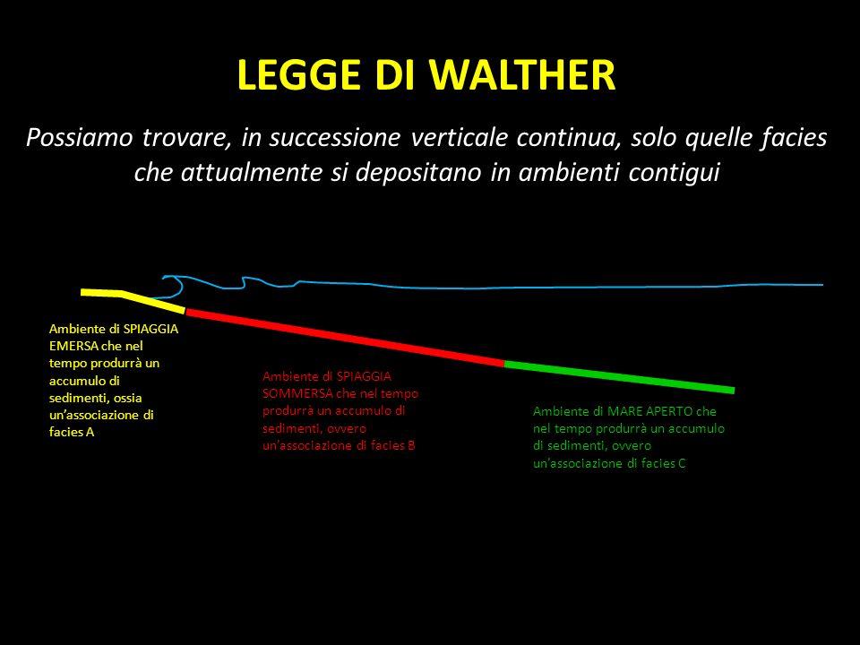 LEGGE DI WALTHER Possiamo trovare, in successione verticale continua, solo quelle facies che attualmente si depositano in ambienti contigui.