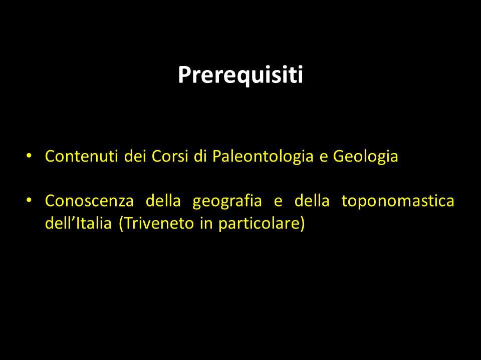 Prerequisiti Contenuti dei Corsi di Paleontologia e Geologia