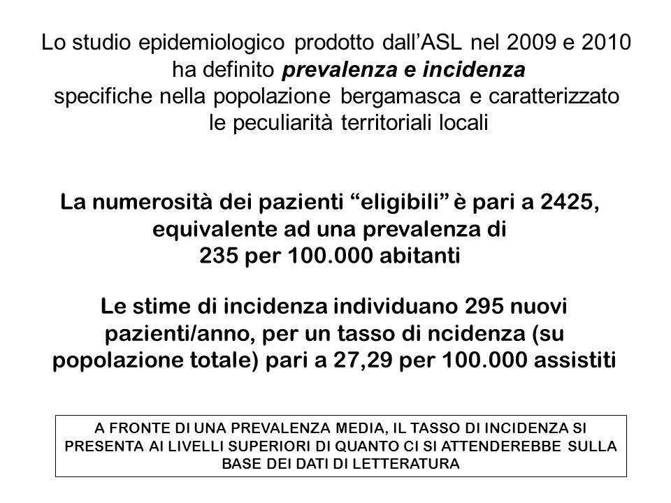 Lo studio epidemiologico prodotto dall'ASL nel 2009 e 2010 ha definito prevalenza e incidenza