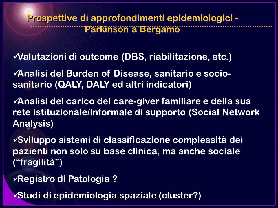 Prospettive di approfondimenti epidemiologici - Parkinson a Bergamo