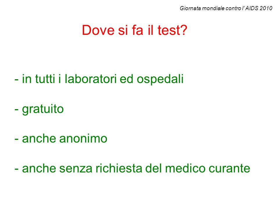Dove si fa il test - in tutti i laboratori ed ospedali - gratuito