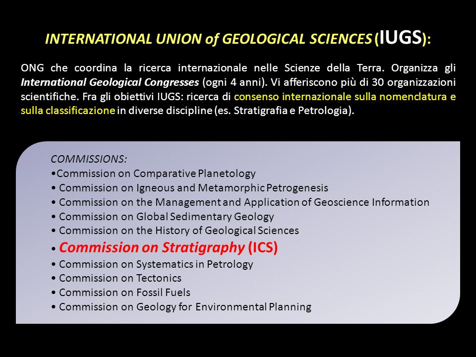 INTERNATIONAL UNION of GEOLOGICAL SCIENCES (IUGS):