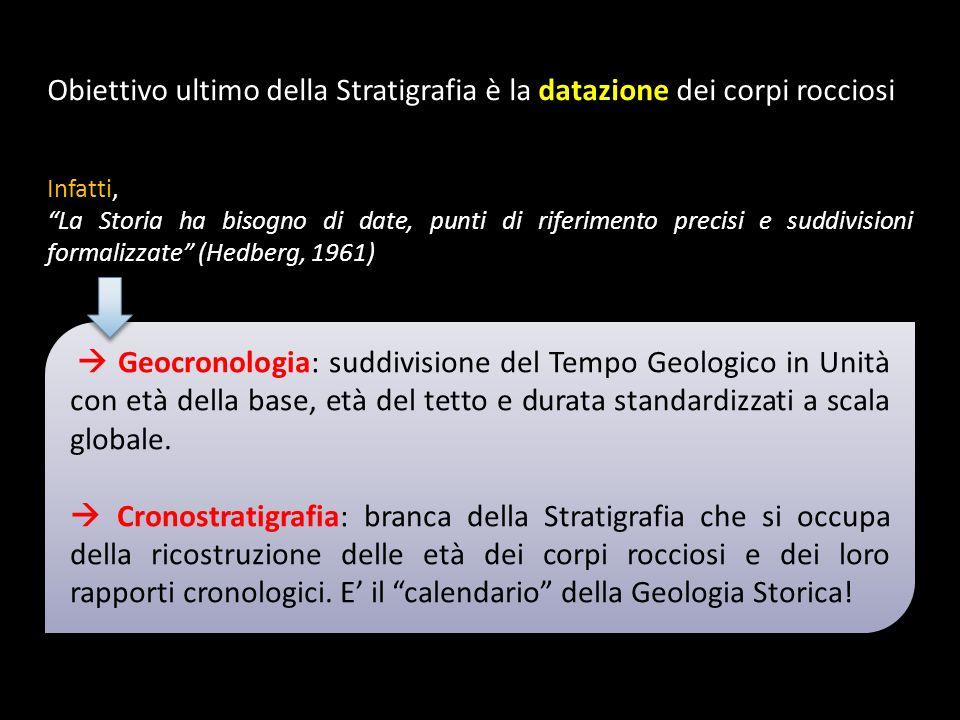 Obiettivo ultimo della Stratigrafia è la datazione dei corpi rocciosi