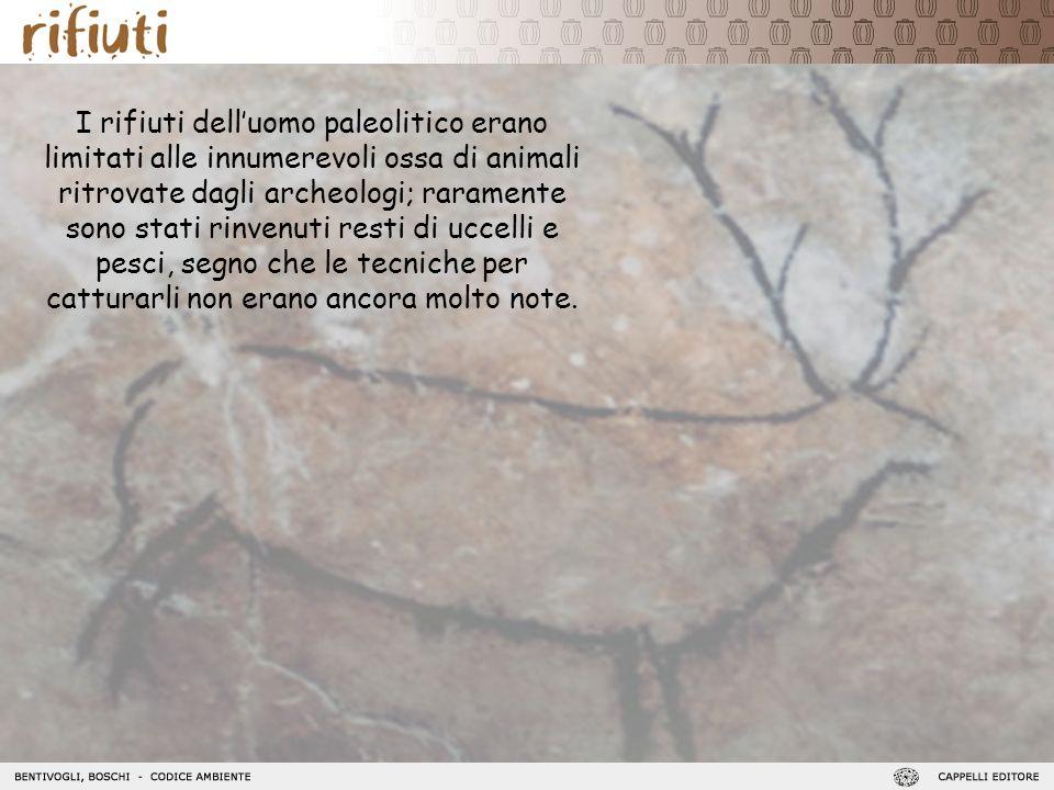 I rifiuti dell'uomo paleolitico erano limitati alle innumerevoli ossa di animali ritrovate dagli archeologi; raramente sono stati rinvenuti resti di uccelli e pesci, segno che le tecniche per catturarli non erano ancora molto note.