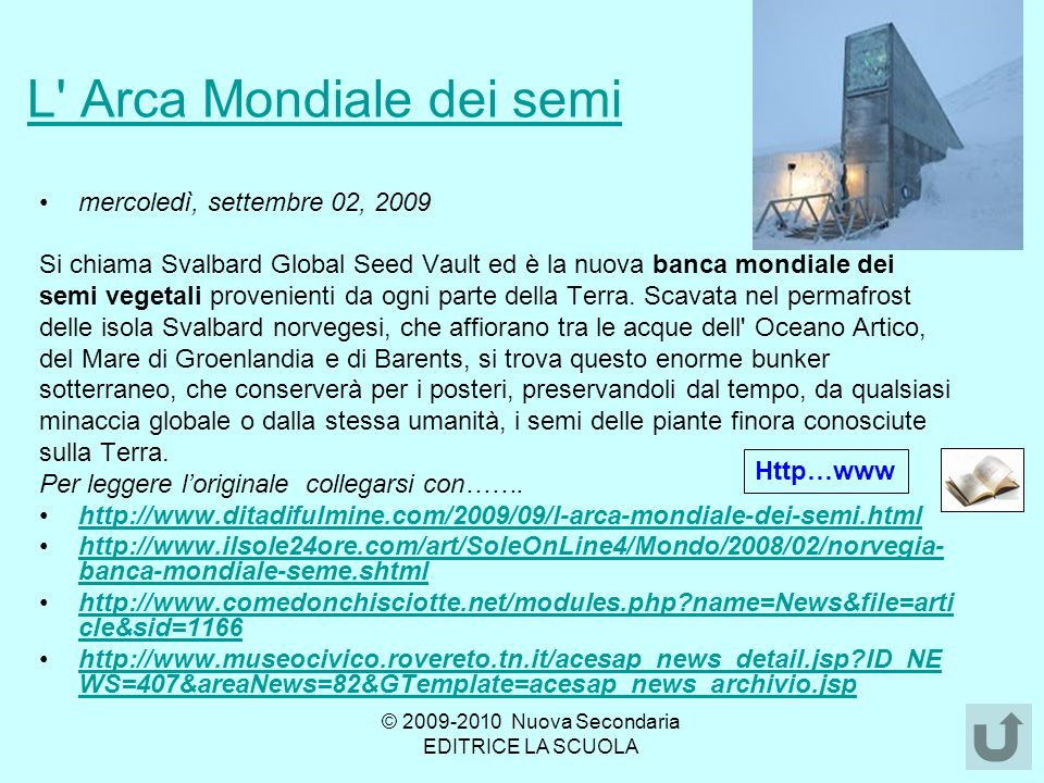 L Arca Mondiale dei semi