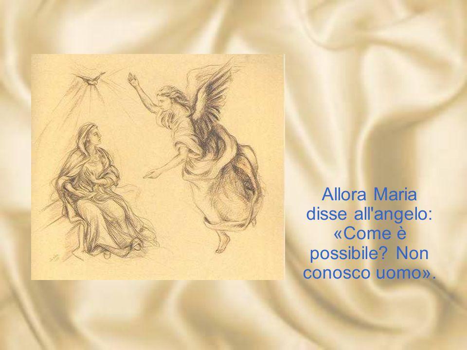 Allora Maria disse all angelo: «Come è possibile Non conosco uomo».