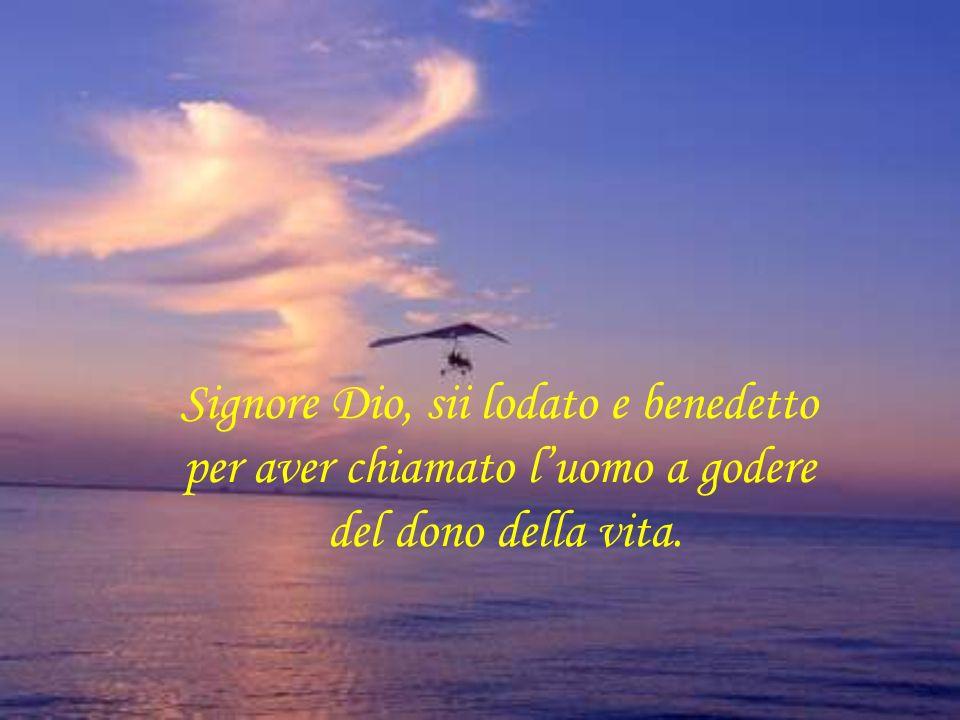 Signore Dio, sii lodato e benedetto per aver chiamato l'uomo a godere del dono della vita.