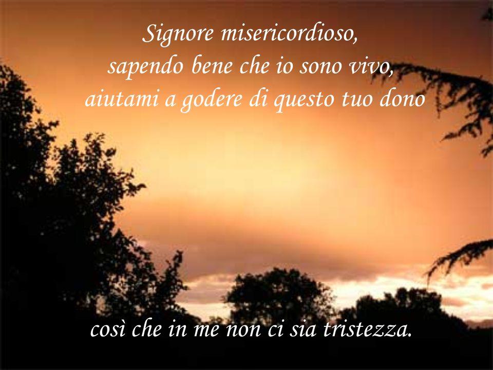 Signore misericordioso, sapendo bene che io sono vivo, aiutami a godere di questo tuo dono così che in me non ci sia tristezza.