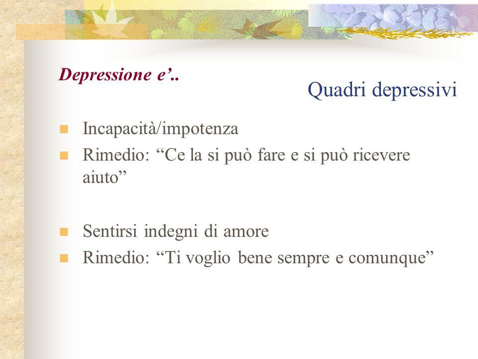 Quadri depressivi Depressione e'.. Incapacità/impotenza