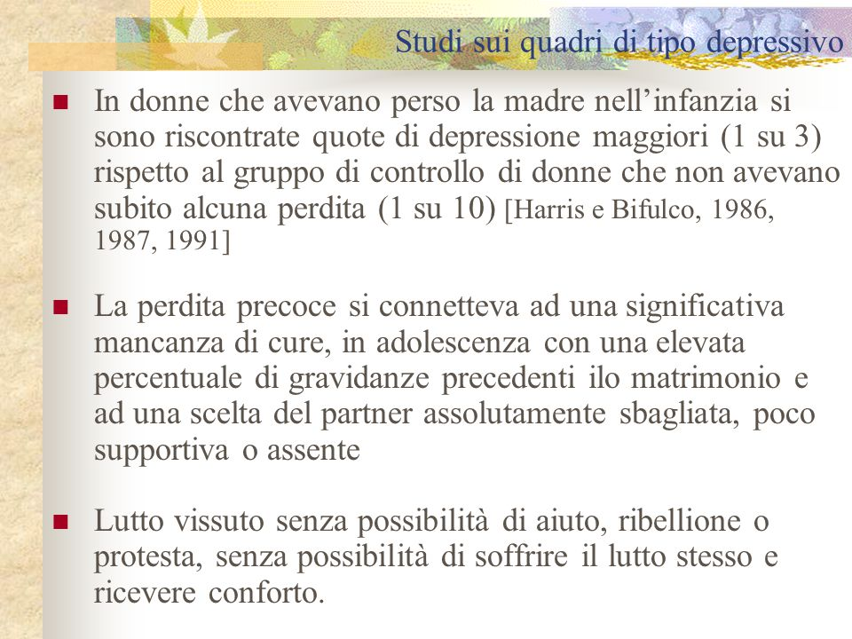 Studi sui quadri di tipo depressivo
