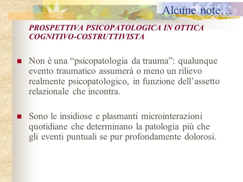 Alcune note… PROSPETTIVA PSICOPATOLOGICA IN OTTICA COGNITIVO-COSTRUTTIVISTA.