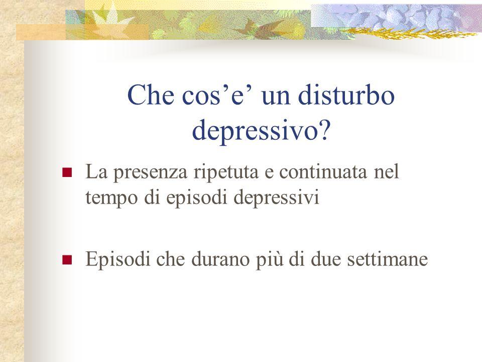 Che cos'e' un disturbo depressivo
