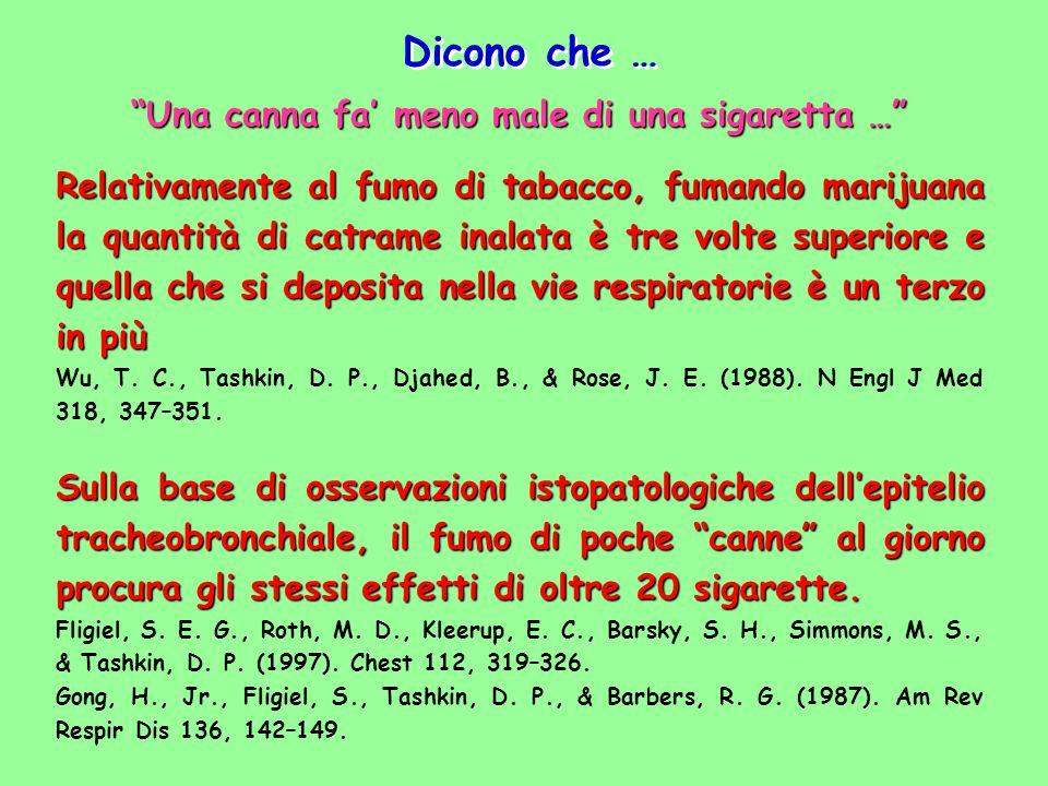 Una canna fa' meno male di una sigaretta …