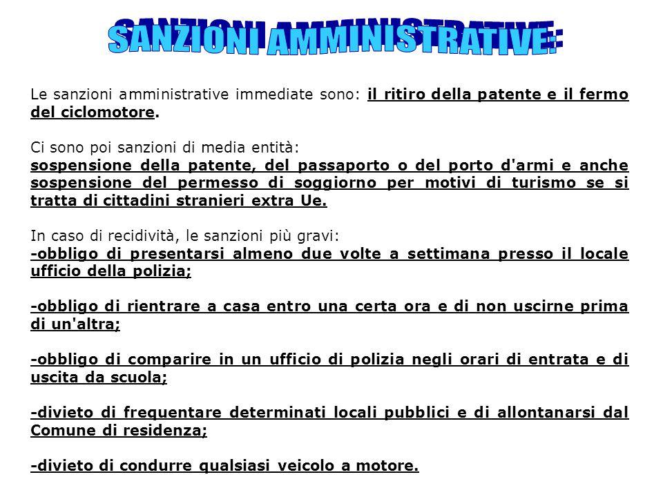 SANZIONI AMMINISTRATIVE: