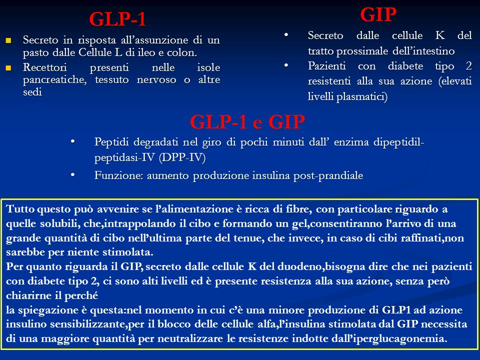 GLP-1 GIP. Secreto dalle cellule K del tratto.prossimale dell'intestino.