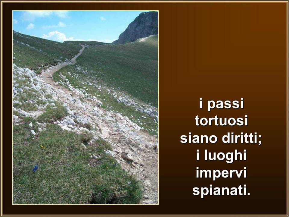 i passi tortuosi siano diritti; i luoghi impervi spianati.
