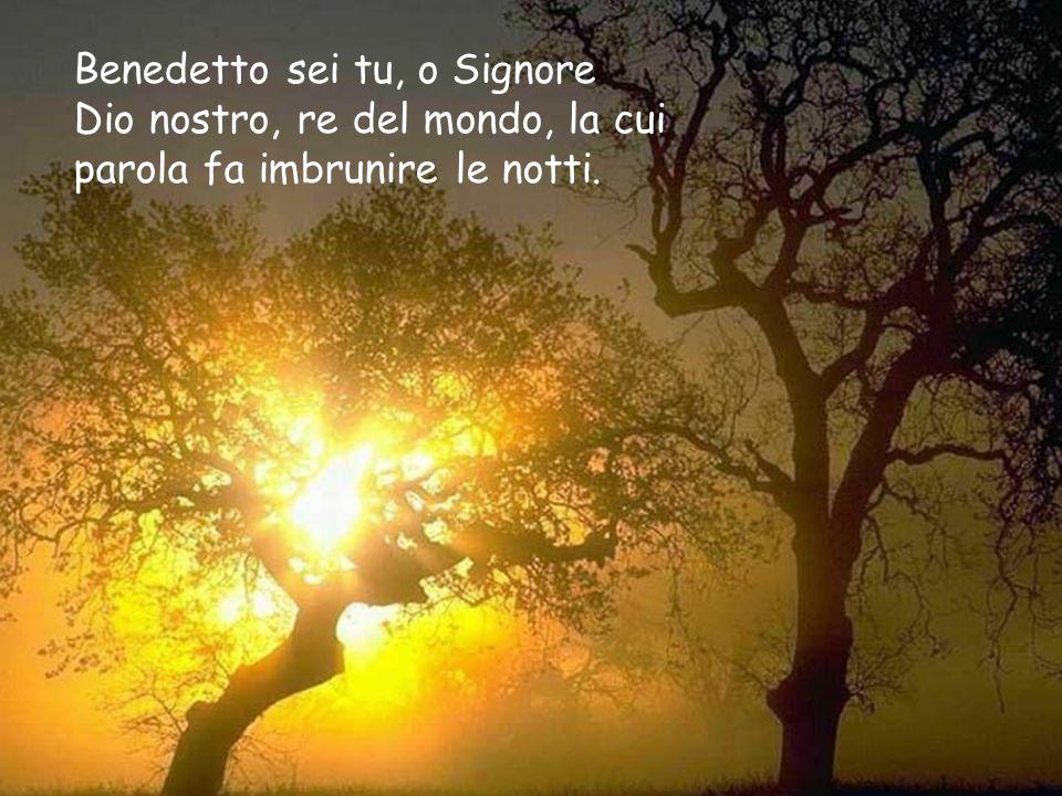 Benedetto sei tu, o Signore Dio nostro, re del mondo, la cui parola fa imbrunire le notti.