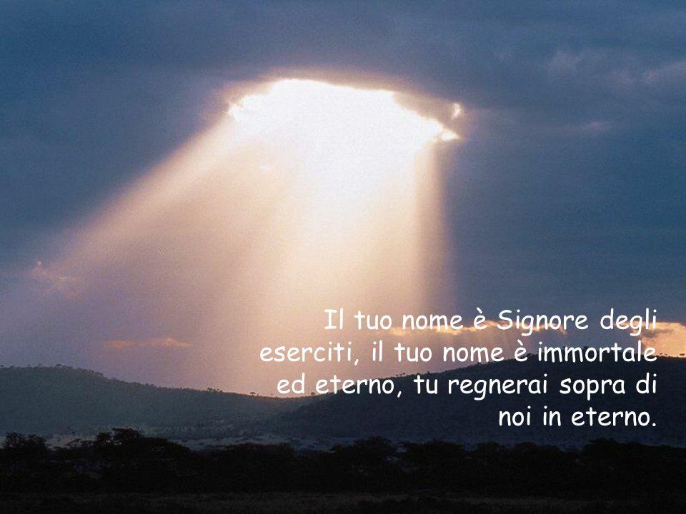 Il tuo nome è Signore degli eserciti, il tuo nome è immortale ed eterno, tu regnerai sopra di noi in eterno.