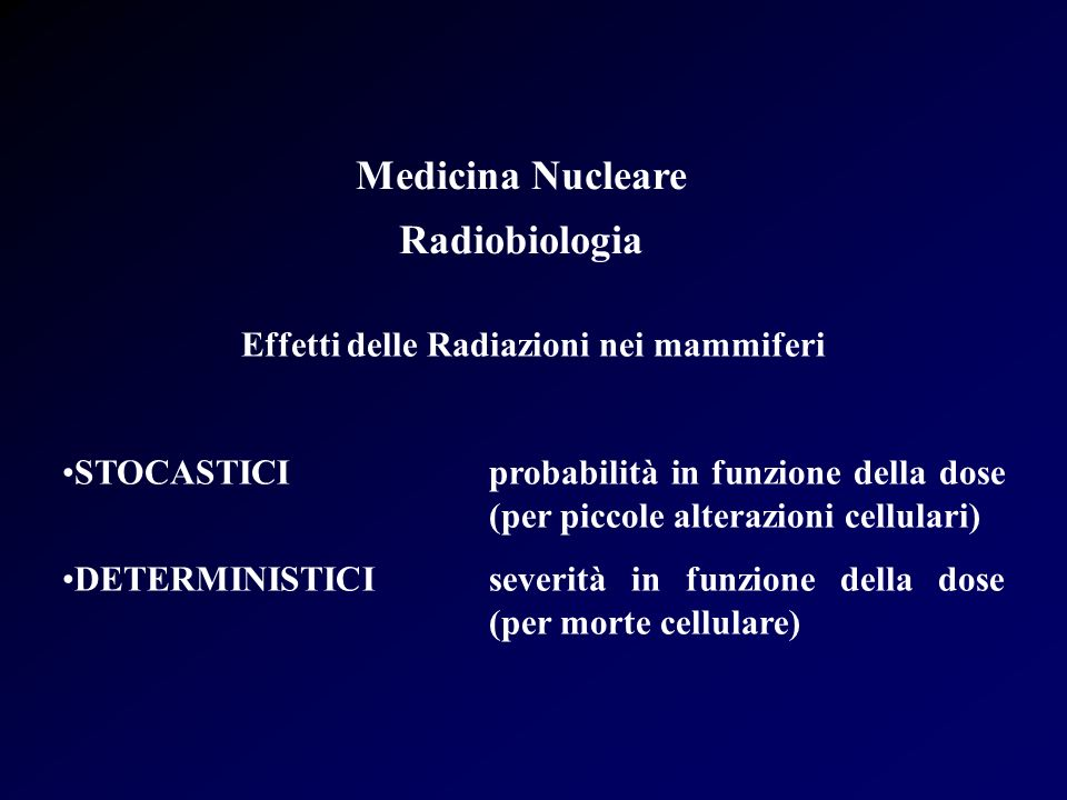 Effetti delle Radiazioni nei mammiferi