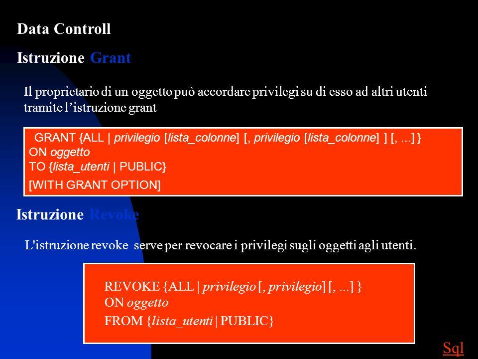 Data Controll Istruzione Grant Istruzione Revoke Sql