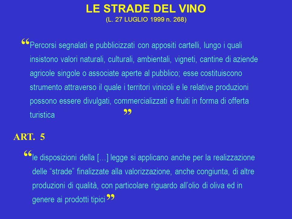 LE STRADE DEL VINO (L. 27 LUGLIO 1999 n. 268)