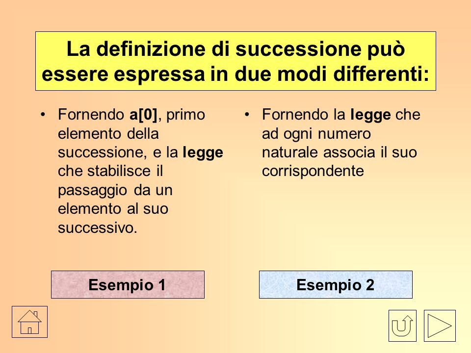 La definizione di successione può essere espressa in due modi differenti:
