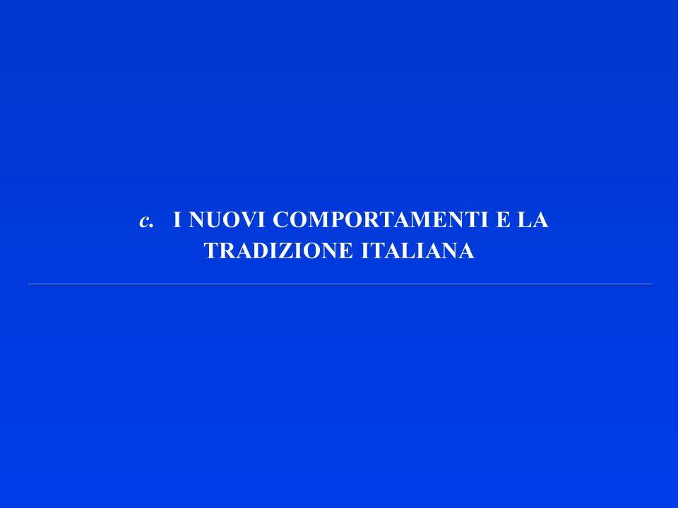 c. I NUOVI COMPORTAMENTI E LA TRADIZIONE ITALIANA